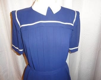 Vintage Pierre Cardin Dress Navy Blue Ladies 1970s Dress