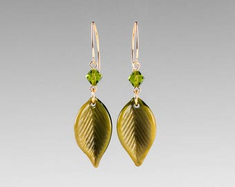 Leaf Earrings w Glass Beech Leaves and crystals, lampwork bead jewelry for birthday or anniversary gift, autumn or fall