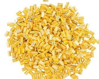 500pcs. 10mm or 3/8 inch Gold No Loop Ribbon Clamp End Crimps - Artisan Series