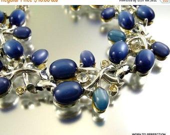 45% off Sale ON SALE Blue Moonglow Thermoset VIntage Bracelet with Rhinestones