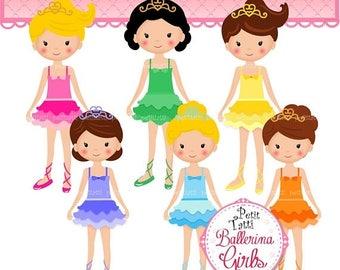 ON SALE Ballerina Girls Clipart _ Ballerinas Clipart. Ballet Girl Clipart,Dance Girls Clip Art,Tutu Dress Girl Clipart