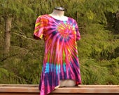 Fuchsia Flowers - Tie Dye Short Sleeve Asymmetrical Cotton Top, Tunic Top, Tie Dye Shirt, Hippie clothes, plus size clothing