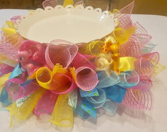 My Little Pony Cake Stand Skirt , Little Pony Birthday Centerpiece for Cake , Pony Cake Stand Skirt , Pony Birthday  Decor