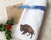 Bison Flour Sack Towel - Native American Buffalo - Old West Kitchen Decor - Farmhouse Towel - Western Bar Towel - Rustic Christmas Gift