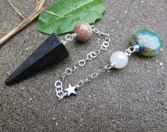 Shungite Pendulum, Moonstone, Sunstone, Hematite Star, Agate, Sterling Chain, Made during the Eclipse