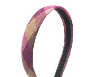 Fall Plaid Headband - Burgundy, Purple, Salmon, Olive, Khaki - Choose Width - Preppy Headband for Girls & Adults, Blair Waldorf Inspired