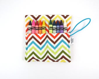 Mini Crayon Roll- Chevron - 8-10 crayons party favor kids crayon wallet metalic crayon roll toddler crayon travelset