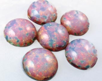Fire Opal Cabochon 6 pc 15mm  Pink Vintage Glass Harlequin Stones S-98-P