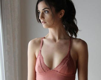 womens bamboo bralette with lace trim - ICON bamboo sleepwear and lingerie range - made to order