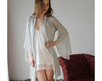 sheer linen cardigan or shrug with metallic sparkle - MICA lounge wear range - made to order
