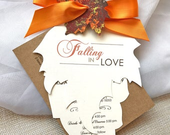 Falling in Love, Fall Wedding Invitations, Autumn Wedding Invitations, Leaf Invitation, Rustic Wedding Invitation, Wedding Invitation Set