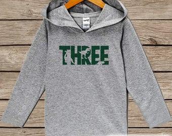 Boys Birthday Shirt - Three Dinosaur Birthday Shirt - Third Birthday Hoodie - Three Dino Birthday Pullover - Green 3rd Birthday Dinosaur