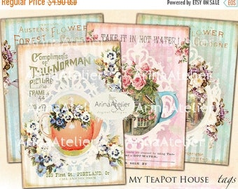 SALE - 30%OFF - My TeaPot House Tags - Set of 9 - Collage Sheet Download - ATC Cards 2,3 x 3,5  - Digital Tea Cup Flowers - Flower Tags