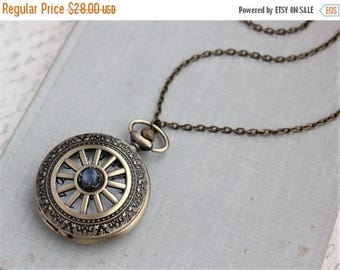VACATION SALE- Kyanite Pocket Watch Necklace. Gift for her under 30 usd.
