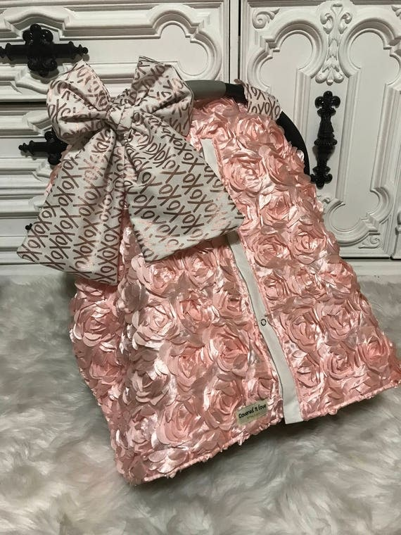 Rose Gold car seat canopy , xoxo car seat cover , nursing cover , comes with JUMBO xoxo bow