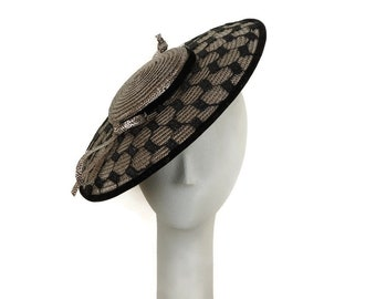 Shiny Bronze Saucer Hat, Wedding Hat, Ladies Straw Hat, Mother of the Bride Hat, Easter Hat, Occasion Hat  Fascinator Hat Fancy Hat