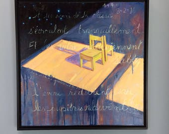 Deux Et Deux , a framed original oil painting  24 x 24 x 3/4 inches. By Yvonne Wagner. School chair. Wooden chair. School. Poem. Zen.