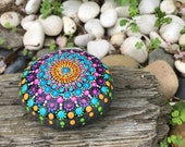 Vibrant Dotty Mandala Rock