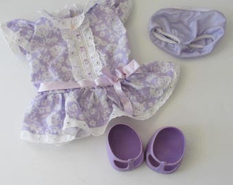 Cabbage Patch Kids Doll Clothes Purple Lace Dress Panties and Mary Jane Shoes
