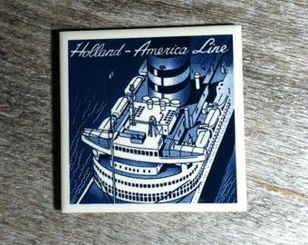 Vintage Holland America Line Delft Coaster Cruise Ship SS Nieuw Amsterdam / MCM Delft Cruise Ship Coaster