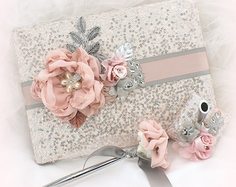 Guest Book,Silver,Blush,Rose,Sequin,Guestbook,Sign In Book,Signature Book,Wedding Pen,Elegant Wedding,Blush Guestbook,Birthday,Anniversary