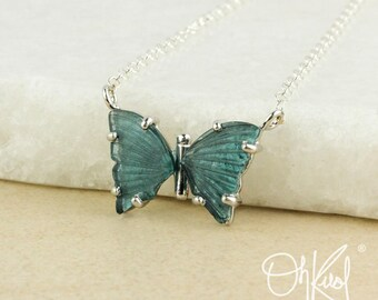 Natural Indicolite Blue Tourmaline Butterfly Necklace - Choose Your Setting - Blue Butterfly Pendant