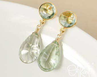 Aqua Quartz & Green Amethyst Teardrop Earrings - Post Setting