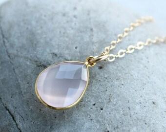 ON SALE Simple Pink Rose Quartz Teardrop Necklace - Gemstone Necklace - 14KT Gold Fill