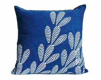 Indigo home decor, SAMPLE SALE indigo throw pillow blue bohemian home boho chic block printed Decorative throw Pillow - CACTUS Pillow cover