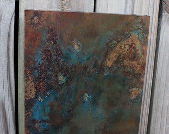 Dark Copper Wall Art. Copper Patina Art. Copper Wall Decor. Metal Wall Art. Metal Art. Metal Patina Art. 9w x 30l. Clear Coat Finish
