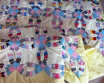 twin size double wedding ring quilt throw quit scrap quilt bedding girls room - Wedding Ring Quilt