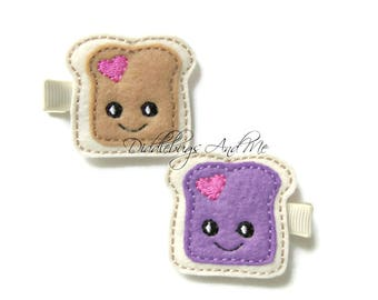 Peanut Butter and Jelly Hair Clips, Piggy Tails, Food Barrettes, PBJ Hair Clips, Peanut Butter Hair Clips, Grape Jelly Sandwich Hair Clip