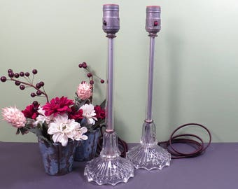 Pair Clear Glass Bedside Dresser Lamps Tall Shabby Chic Vintage 1930s 1940s Bedroom Decor Lamps