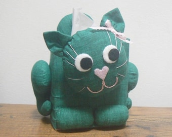 Kitty Cat Fabric Tissue Box Cover - Green