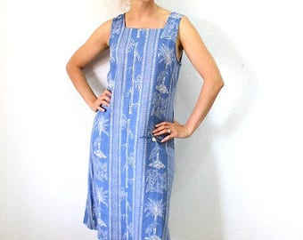 1960s Dress Blue Linen / Bird Tropical Print Summer Dress / Sleevless Pocket Vintage 60s dress S