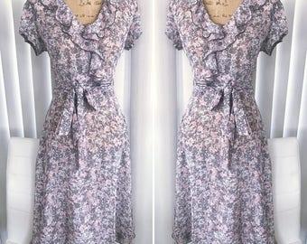 Romantic Vintage Sheer Floral Print Garden Party or Tea Dress -- Size M-L