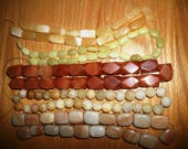 """reserved for Candyce   5 strands   16"""" of Large Chunky Beads Nuggets  Aventurine  Jade 5  dol  each  strand"""