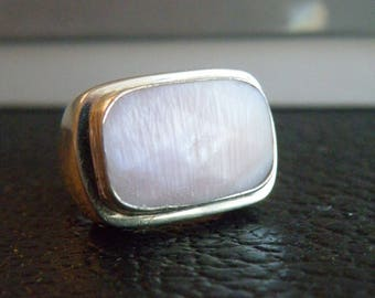 Chunky Heavy Sterling Silver 925 Pink Mother of Pearl Shell Modern Ring Size 5.5