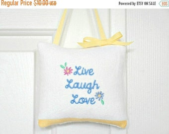 Christmas in July Sale Door Hanger Pillow Live Laugh Love Script White Periwinkle Blue Pink Purple Yellow Decorative Repurposed