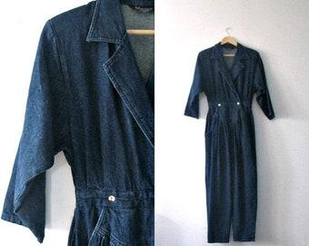 Spring SALE Vintage 80s denim jumpsiut / Indie Hipster jean jumpsuit