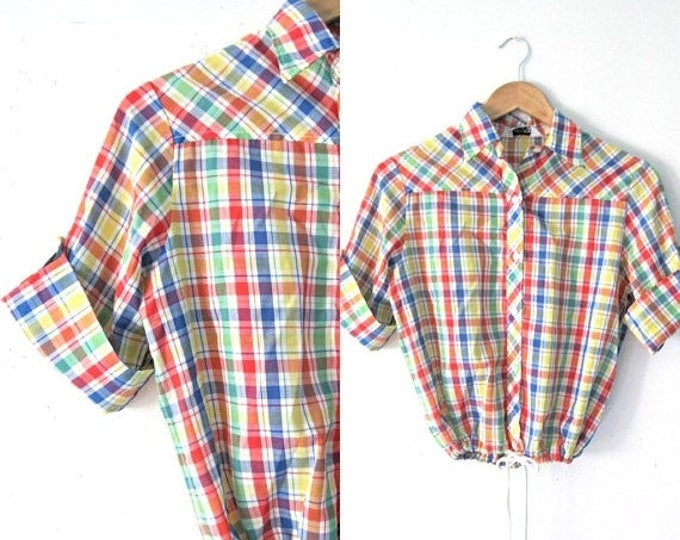 WINTER SALE Vintage 60s plaid top, drawstring waist Picnic plaid Day in the park shirt / Rainbow plaid blouse top