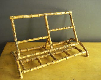 Stand It Up - Vintage Ornate Bamboo Music or Book or Magazine Stand - Hinged, Collapsible Display Stand