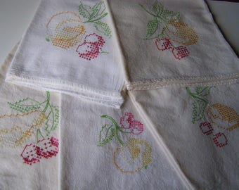 Embroidered Tea Towels Dish Towels set of 5 large vintage cross stitch