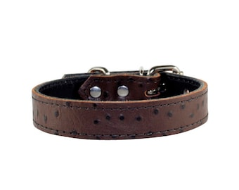 Dark Brown Ostrich Dog Collar - Leather Dog Collar - Dark Brown Embossed Ostrich Leather Collar - Ostrich Brown Dog Collar - Made In USA