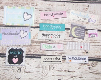 24 Handmade with love one of a kind woven label tag clothes fabric craft scrapbooking scrapbook papercrafts sew on heart labels card making