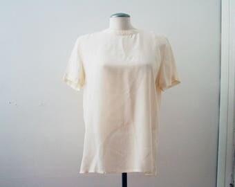 VTG 90s Silk Blouse|White Silk Shirt|Silk T-Shirt|Boxy Oversized Tee|White T-Shirt|Silky Top|Silky Blouse|White Blouse|Vintage Silk Top|M