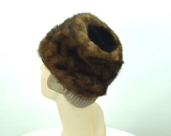 1960s mink hat with velvet crown brown fur hat winter hat