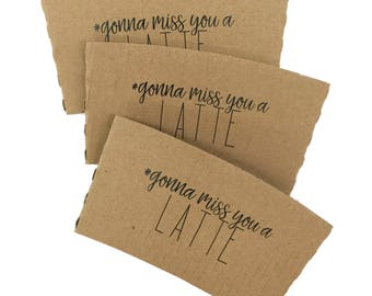 Personalized Printed Coffee Sleeves - Choose a Shop Design or Create Your Own - Recycled Natural Brown Kraft -  FREE U. S. SHIPPING