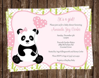 Panda Baby Shower Invitations, Baby Panda, Little Bear, Panda Bear, Baby Sprinkle, Chevron, Pink, 10 Printed Invites, FREE Shipping