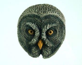 Handmade Owl Sculpture,  Cement Owl Head, Nature Art, Animal Head Wall Sculpture